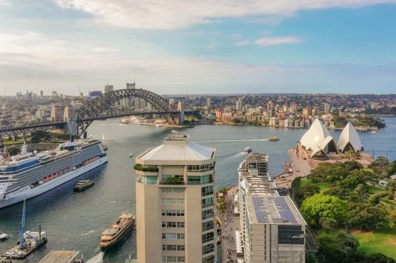 Blick vom Hotel in den Sydney Harbor