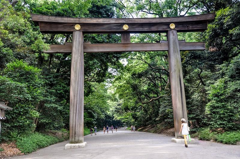 Das Shinto Tor am Eingang zum Meiji Schrein