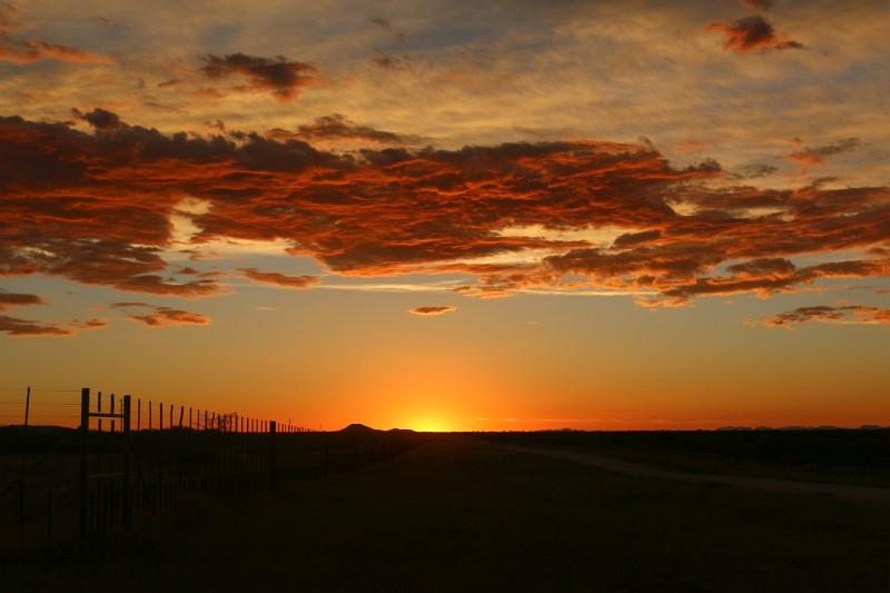 Sonnenuntergang bei einer Pirschfahrt in einem private Game Reserve in Namibia